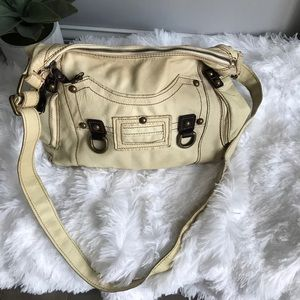 Nicoli Cream Leather Soft Crossbody Bag
